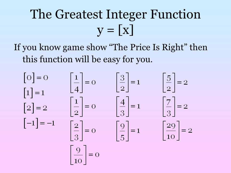 Greatest Integer Function Ppt Video Online Download. The Greatest Integer Function Y X. Worksheet. Greatest Integer Function Worksheet At Mspartners.co